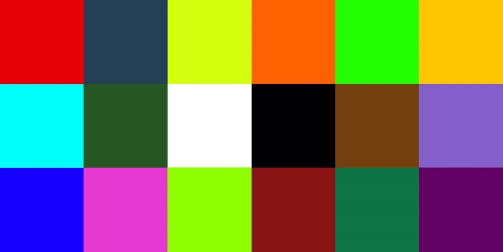 Color test abstract background with squares