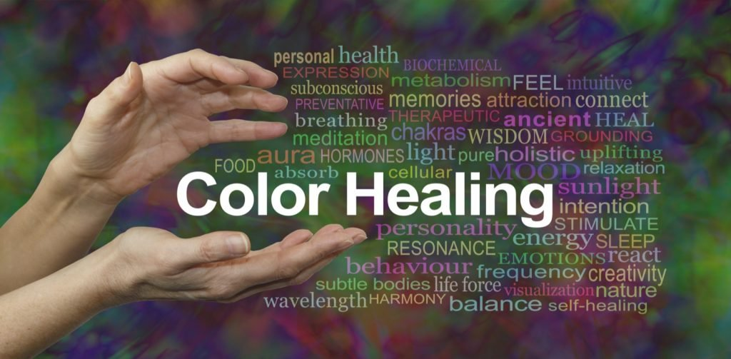 Color therapy illustration with healing hands and beneficial words