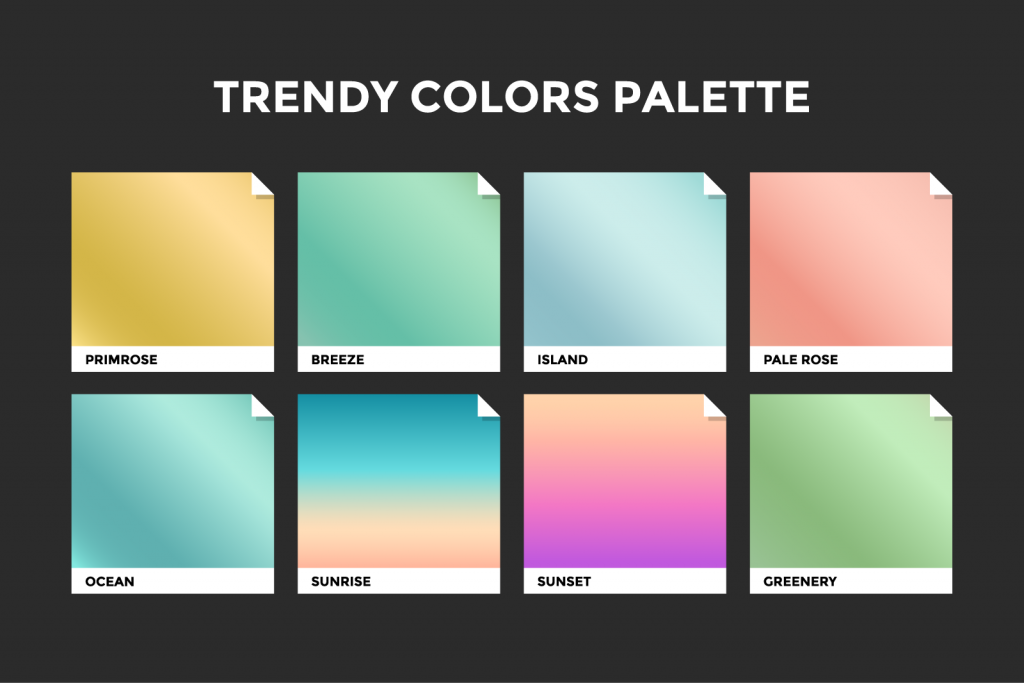 Palette with color trends for fall and winter 2017-2018