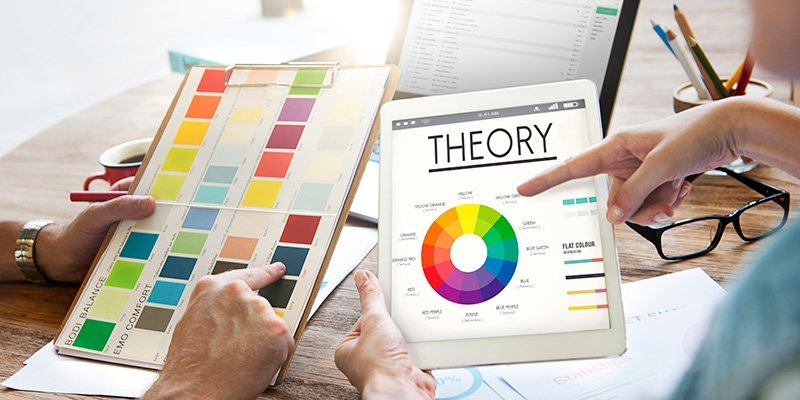 Theory graphic chart with color wheel