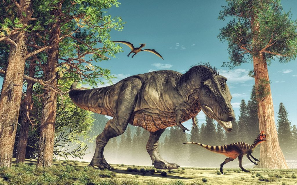 3d rendering of colored dinosaurs in their natural environment