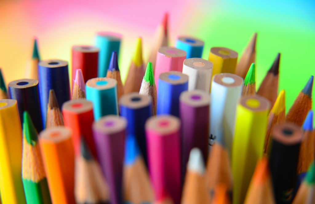 Colored pencil collection closeup