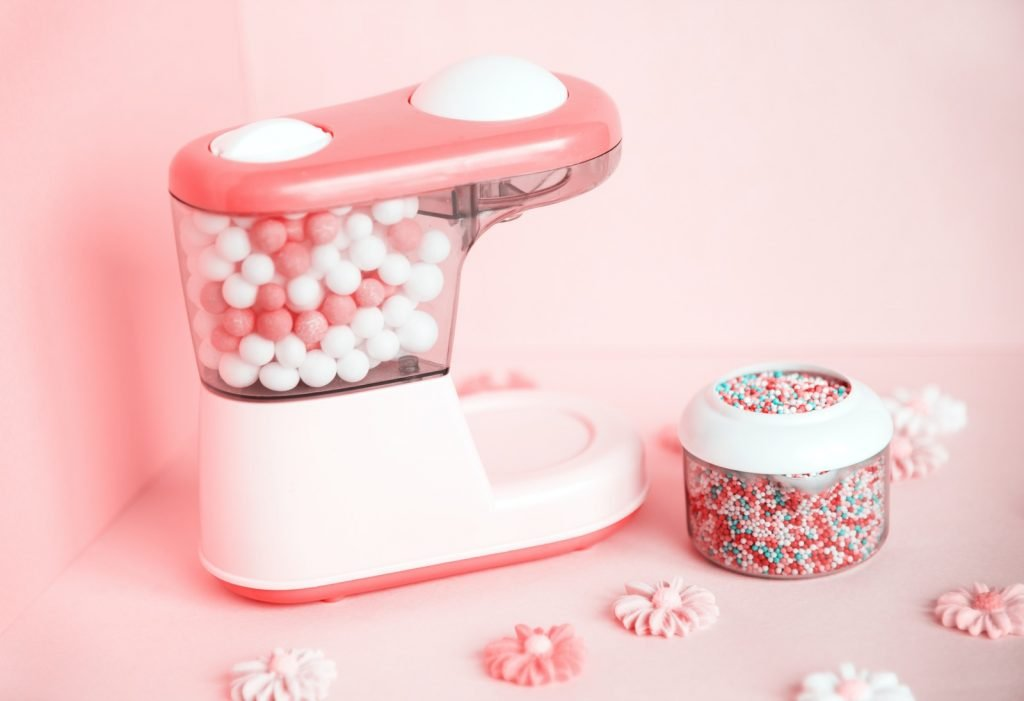 Colorful and bright pink candy machine