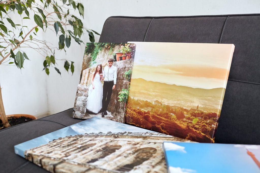Colorful canvas prints with wedding portrait and landscape photos