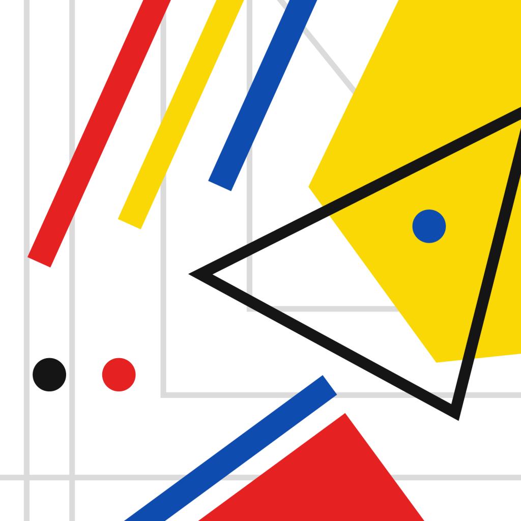 Geometric shapes based on Bauhaus color theory