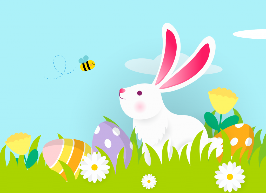 Colorful illustration of a white Easter bunny on a green spring meadow