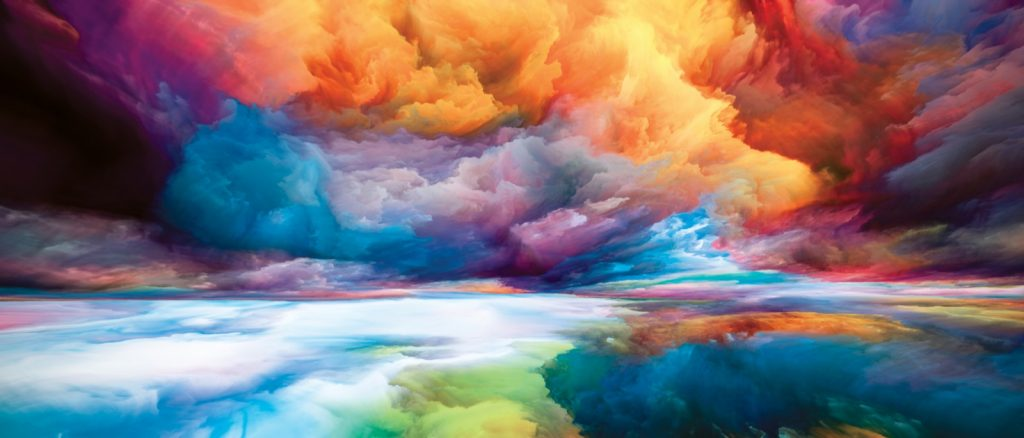 Colorful landscape composed of bright paint motion gradients and surreal mountains and clouds symbolizing the imagination