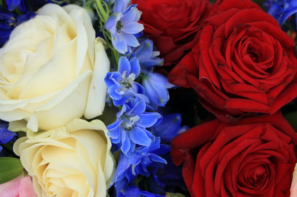 Colorful red, white and blue flower bouquet for Father's Day