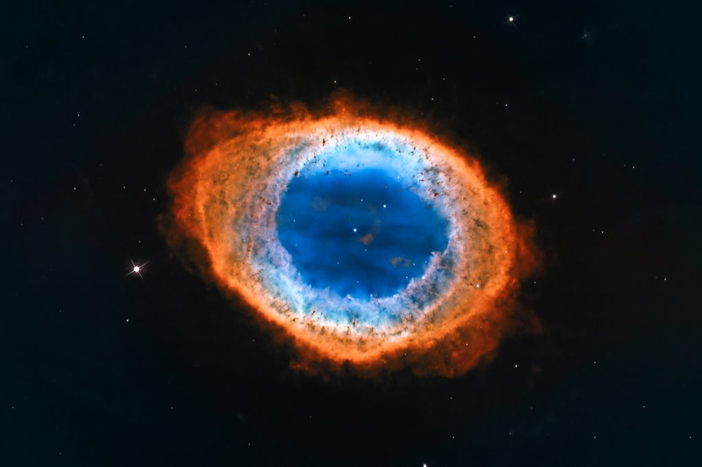 Colorful ring nebula also known as Messier 57