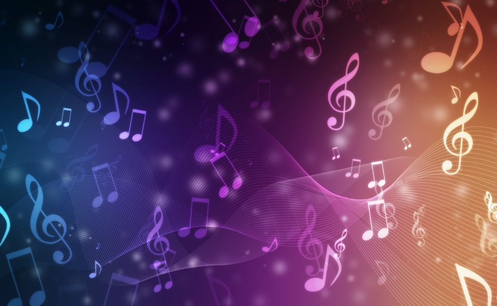 Abstract colorful songs background with notes flying around