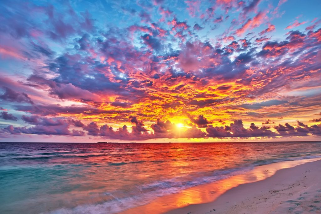 Colorful sunset over the ocean on the Maldives