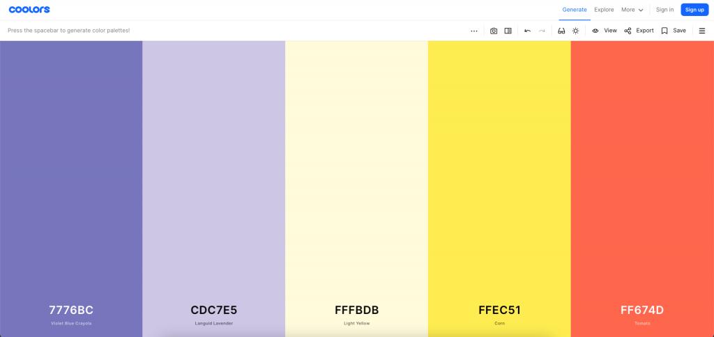 Screenshot of Coolors color palette generator