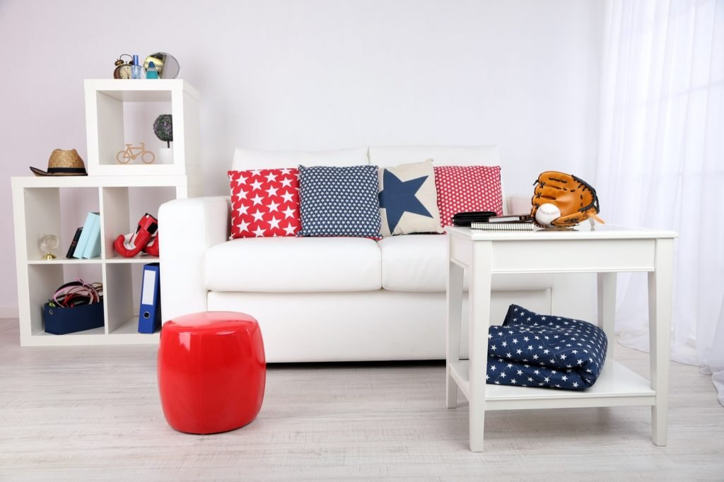 Couch pillows in patriotic red, white, and blue colors