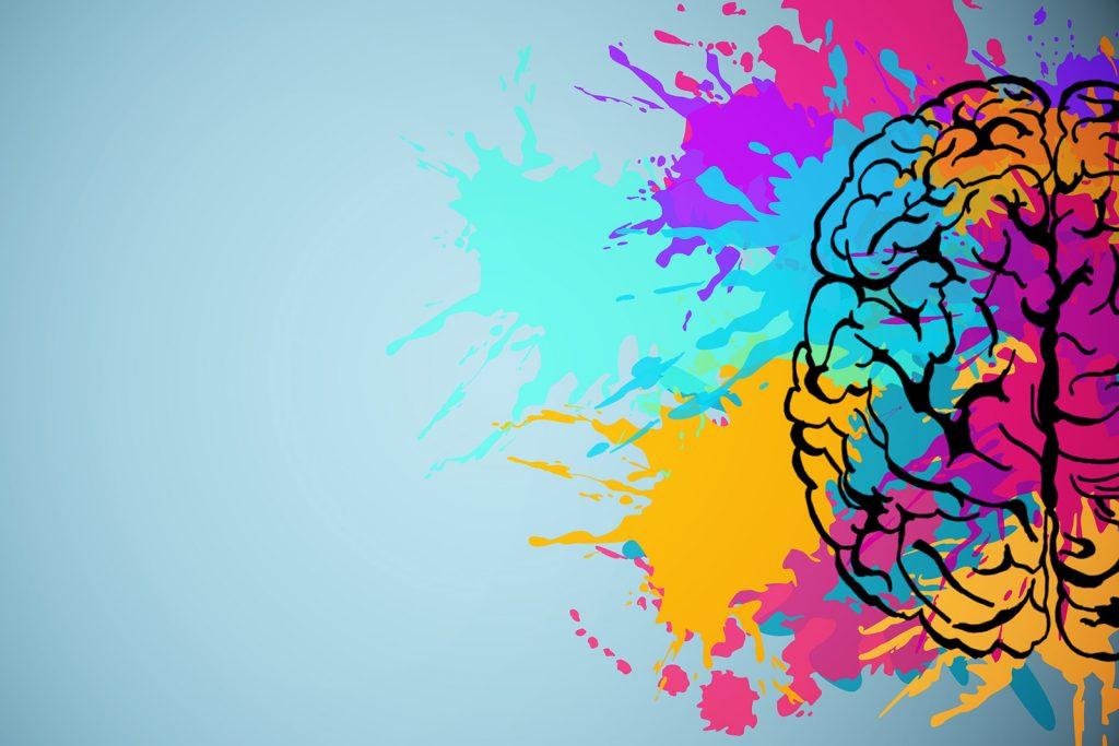Creative brain drawing illustrates that colors affect human behavior