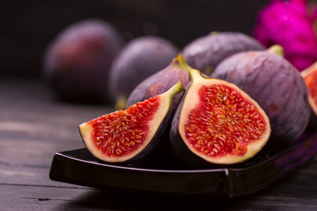 Cut ripe figs with red centers