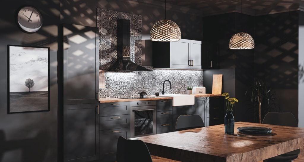 Dark Scandinavian style kitchen with black stainless steel appliances