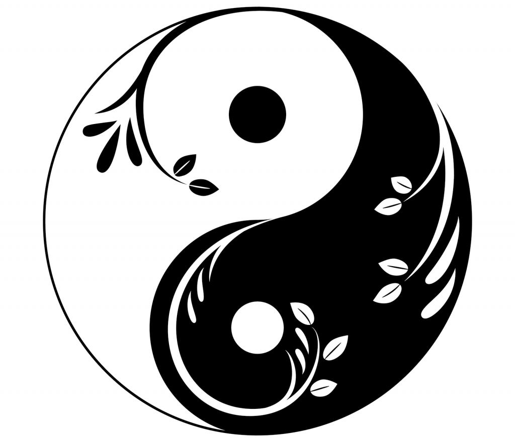 Decorative yin yang symbol with sprigs and leaves