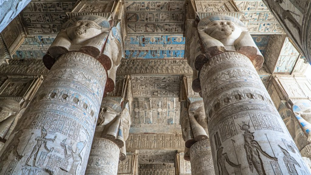 The Dendera temple of Hathor in Egypt with its blue painted ceiling