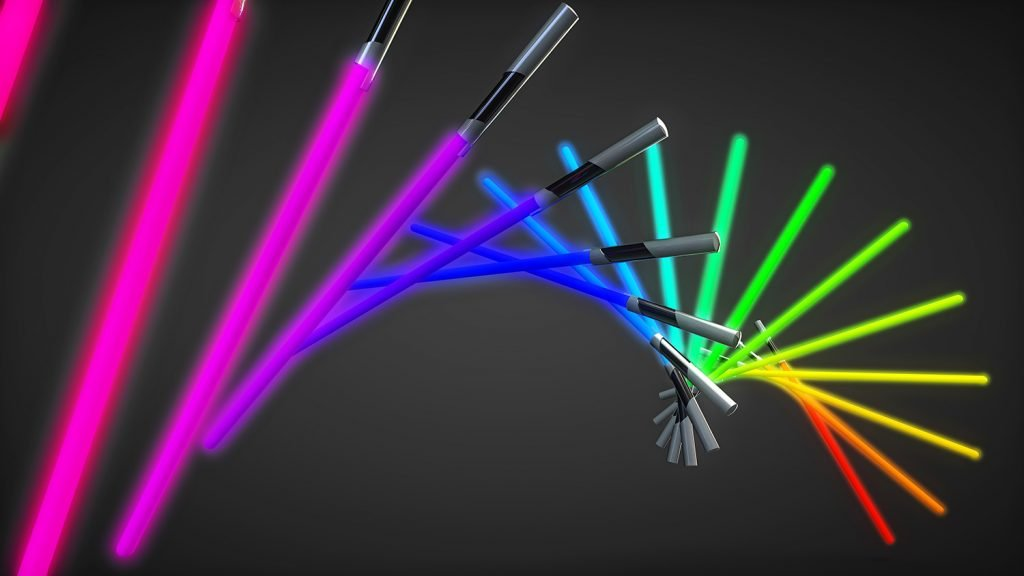 Different colored lightsabers isolated on dark background