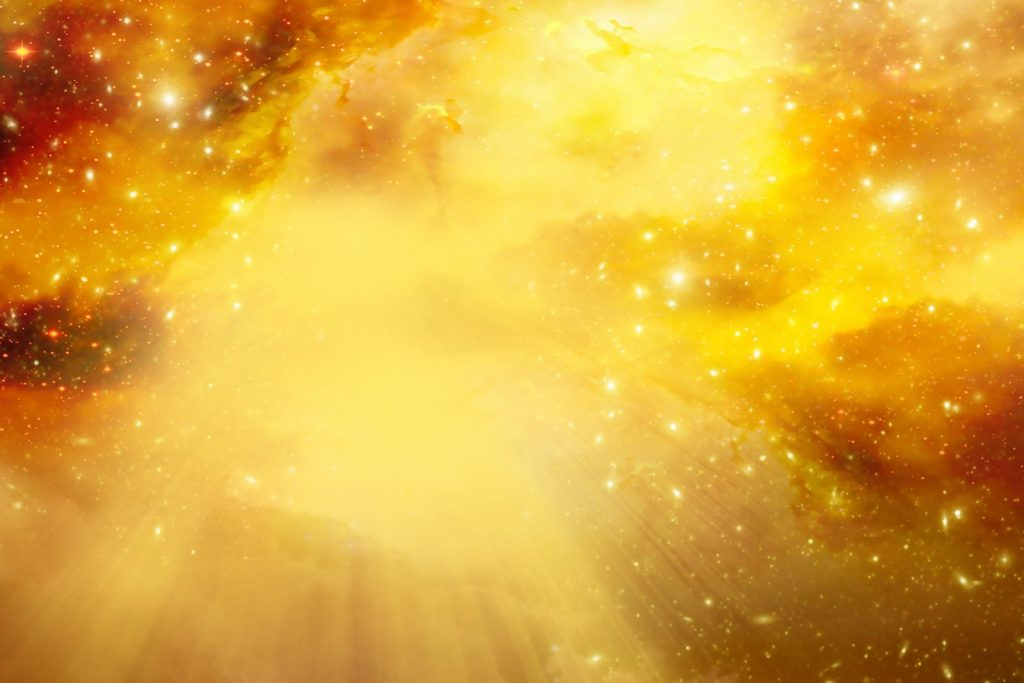 Divine sky with light and stars in yellow colors