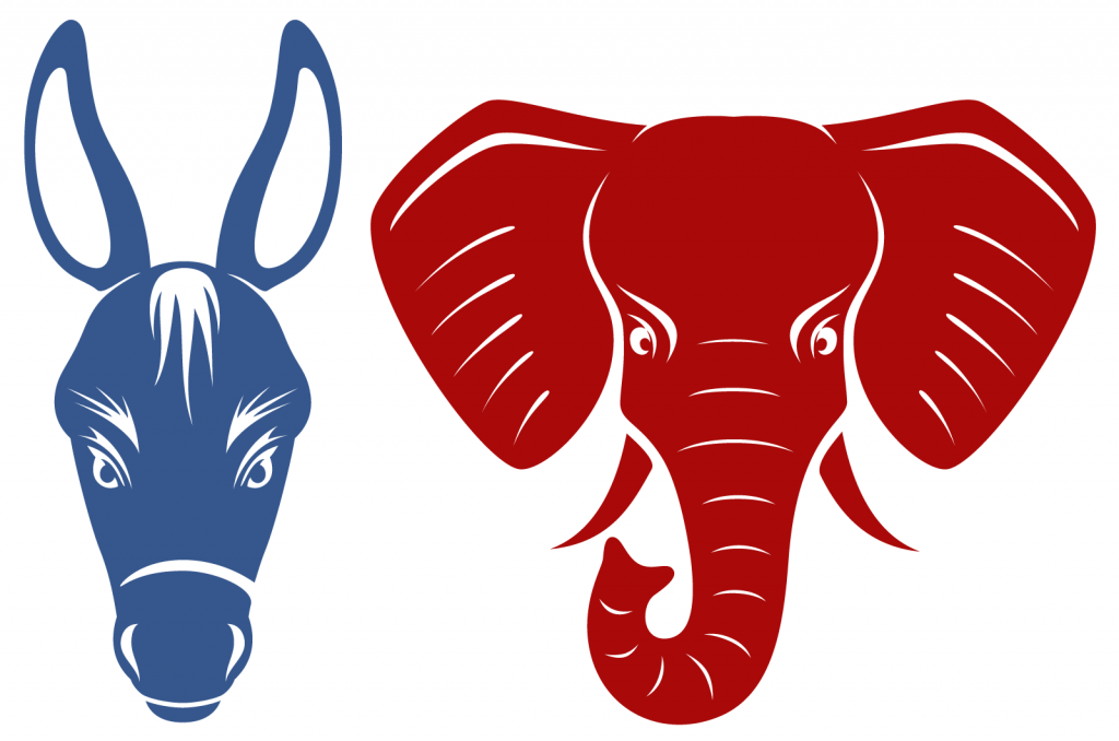 Blue donkey and red elephant representing the Democratic and Republican political parties of the United States