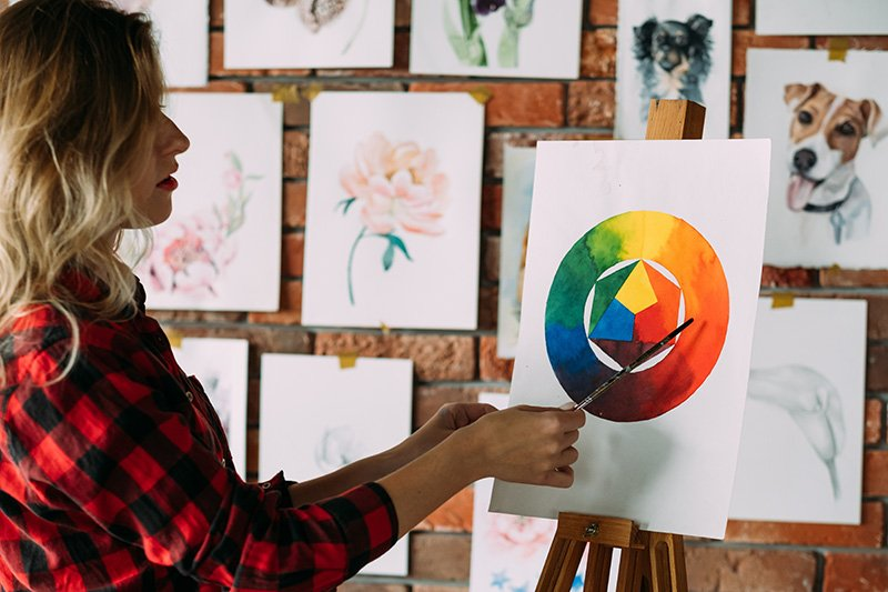 Female artist drawing color wheel using watercolor