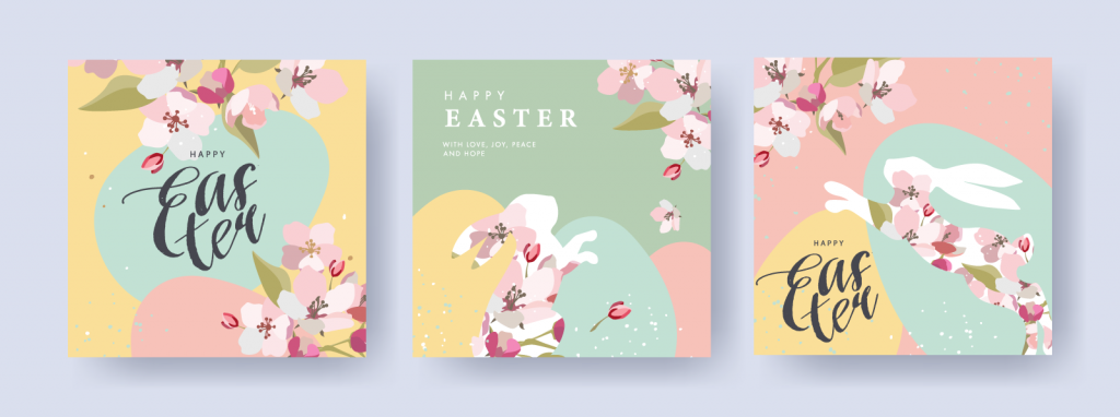 Happy Easter graphic designs created using a pastel color palette