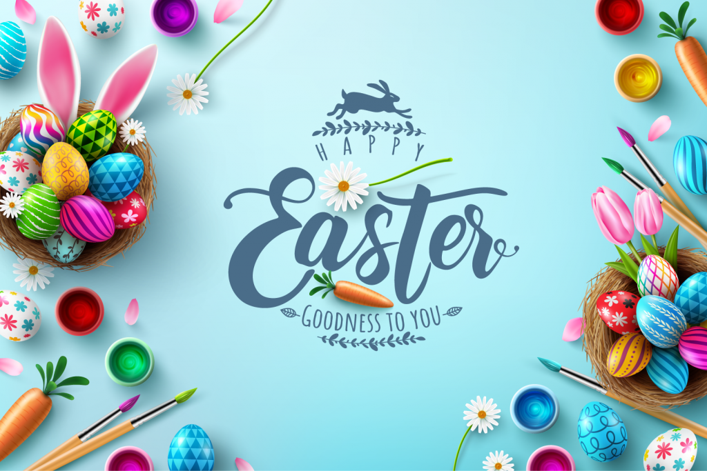 Easter illustration with painted eggs in many different colors