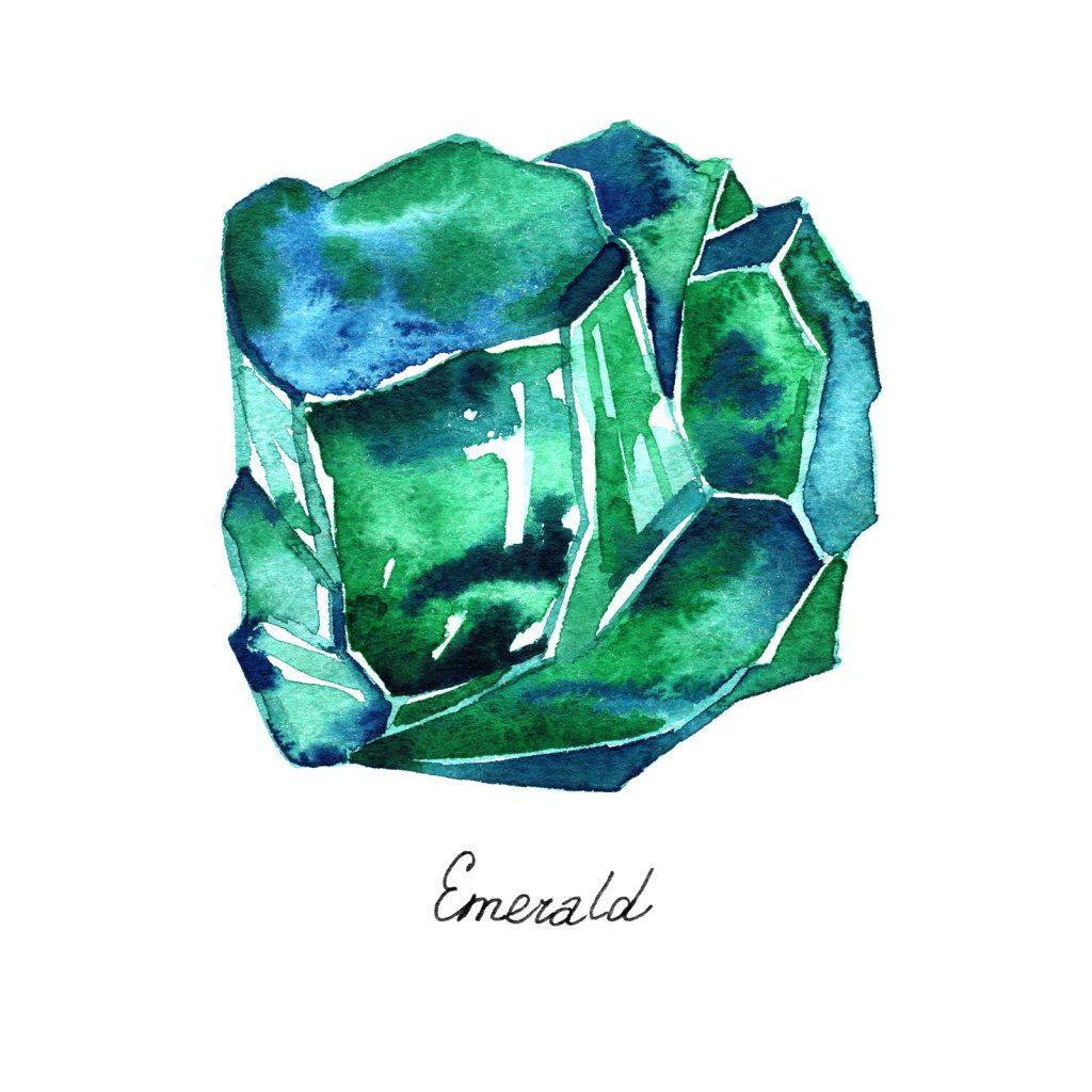 Emerald gem watercolor illustration