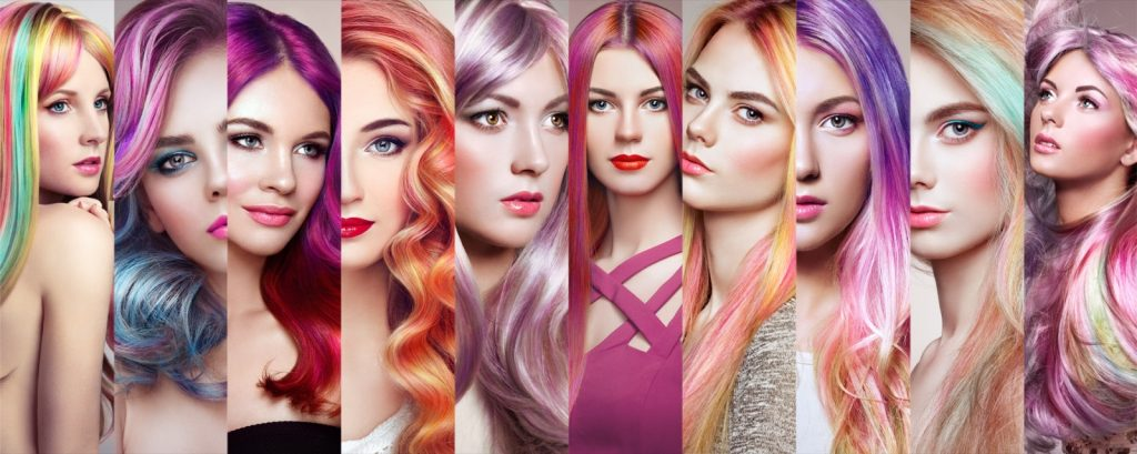 Fashion collage of girls with colorful dyed hair