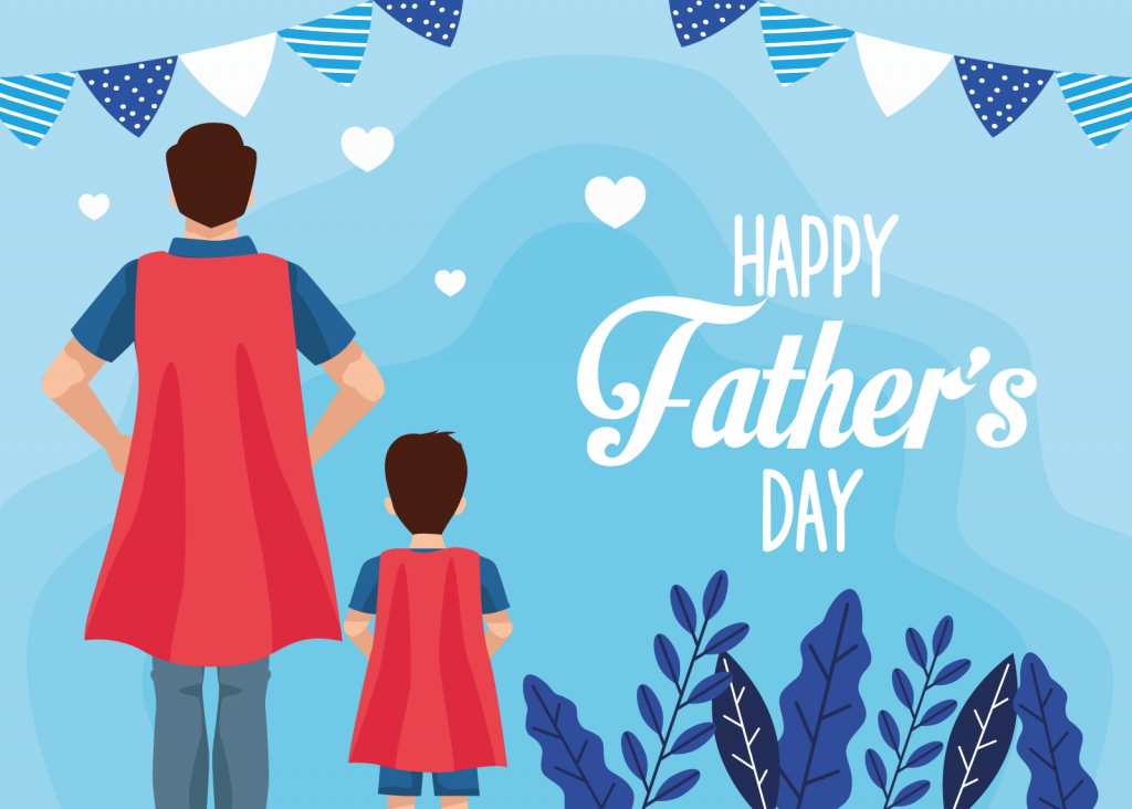 Father's Day card with super dad and son in black, white, red, and blue colors