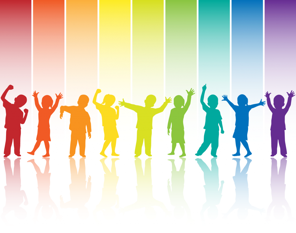 Rainbow colored silhouettes of children showing different emotions