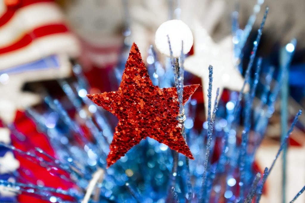 Festive patriotic holiday decorations in red, white, and blue colors
