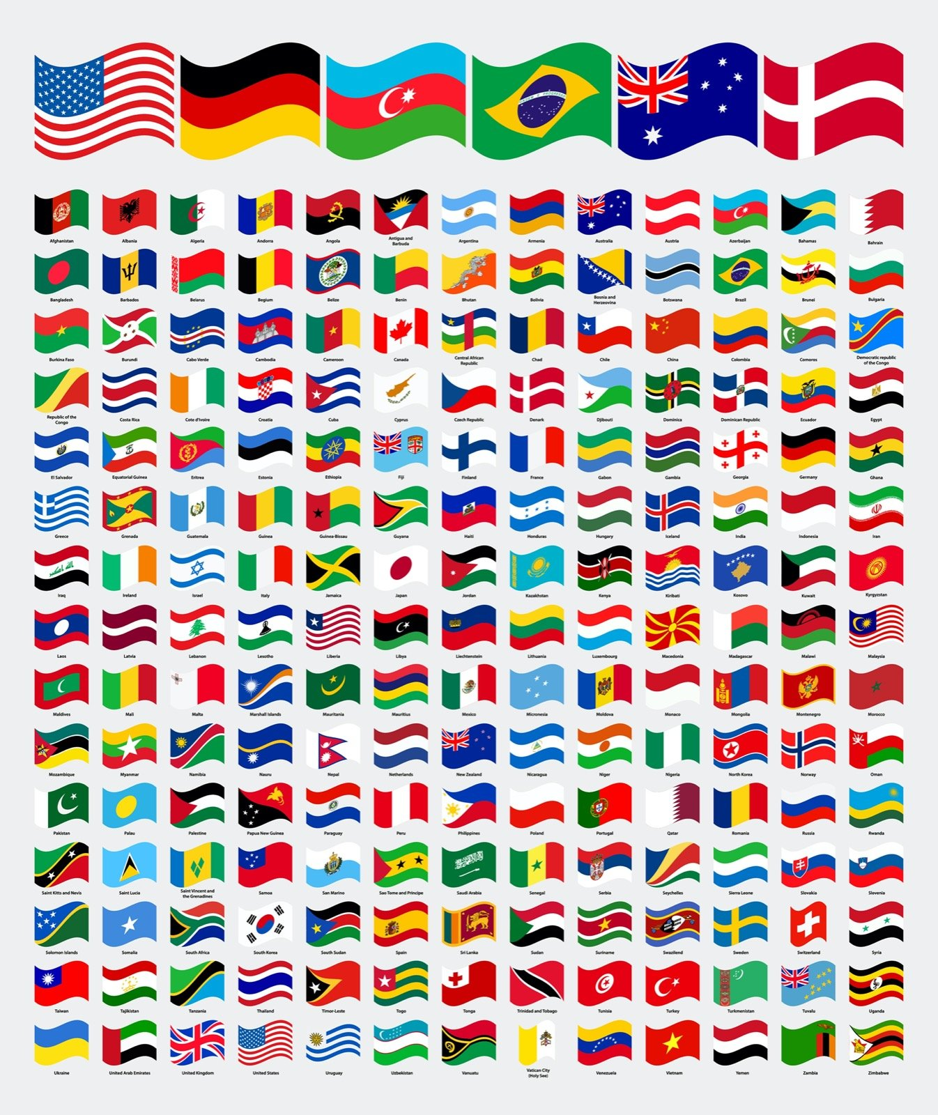 Illustration of different flag designs in the world
