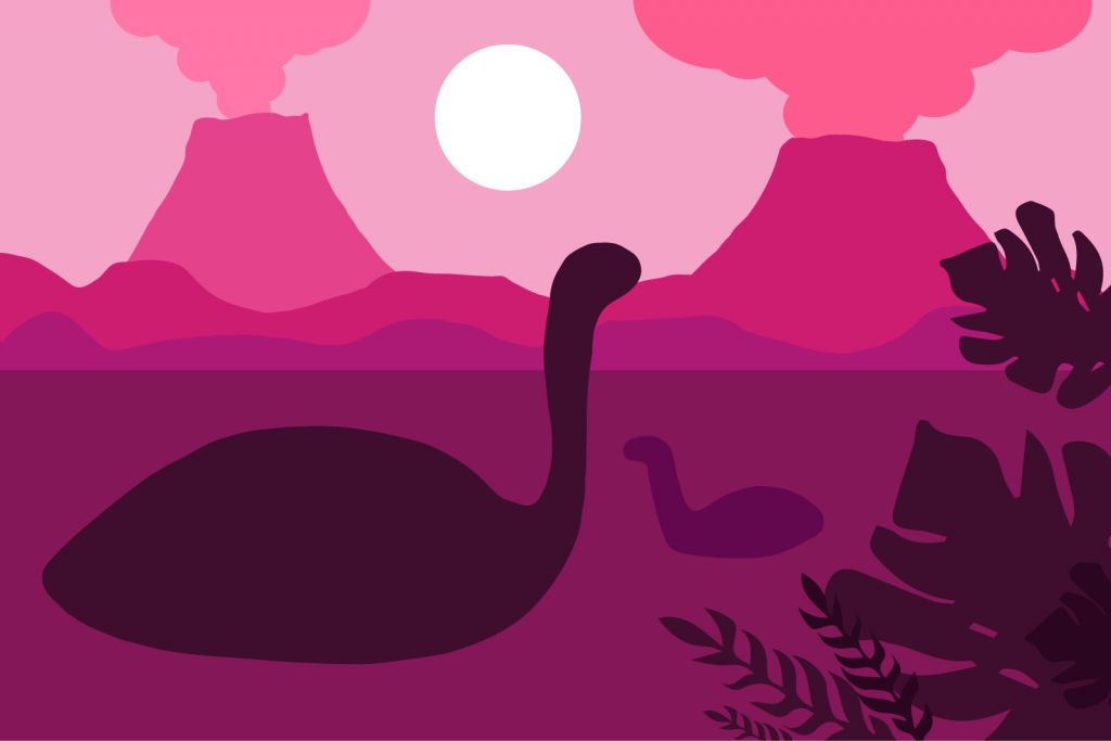 Floating dinosaurs in a lake on a pink colored background with volcanoes