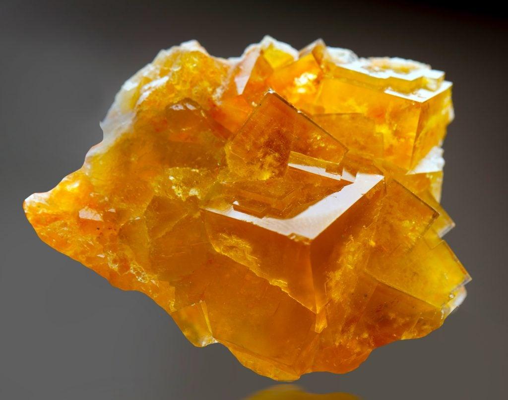 Closeup of macro mineral stone Fluorite crystal