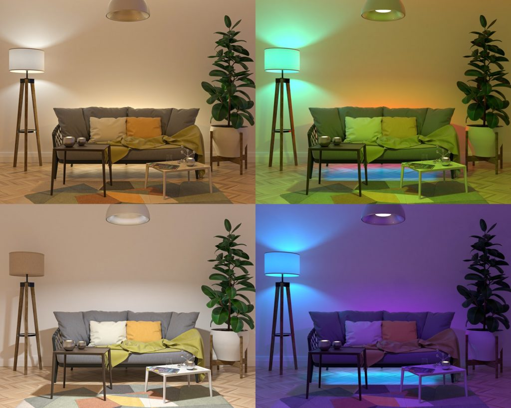 Four different colored light sources set up in a living room