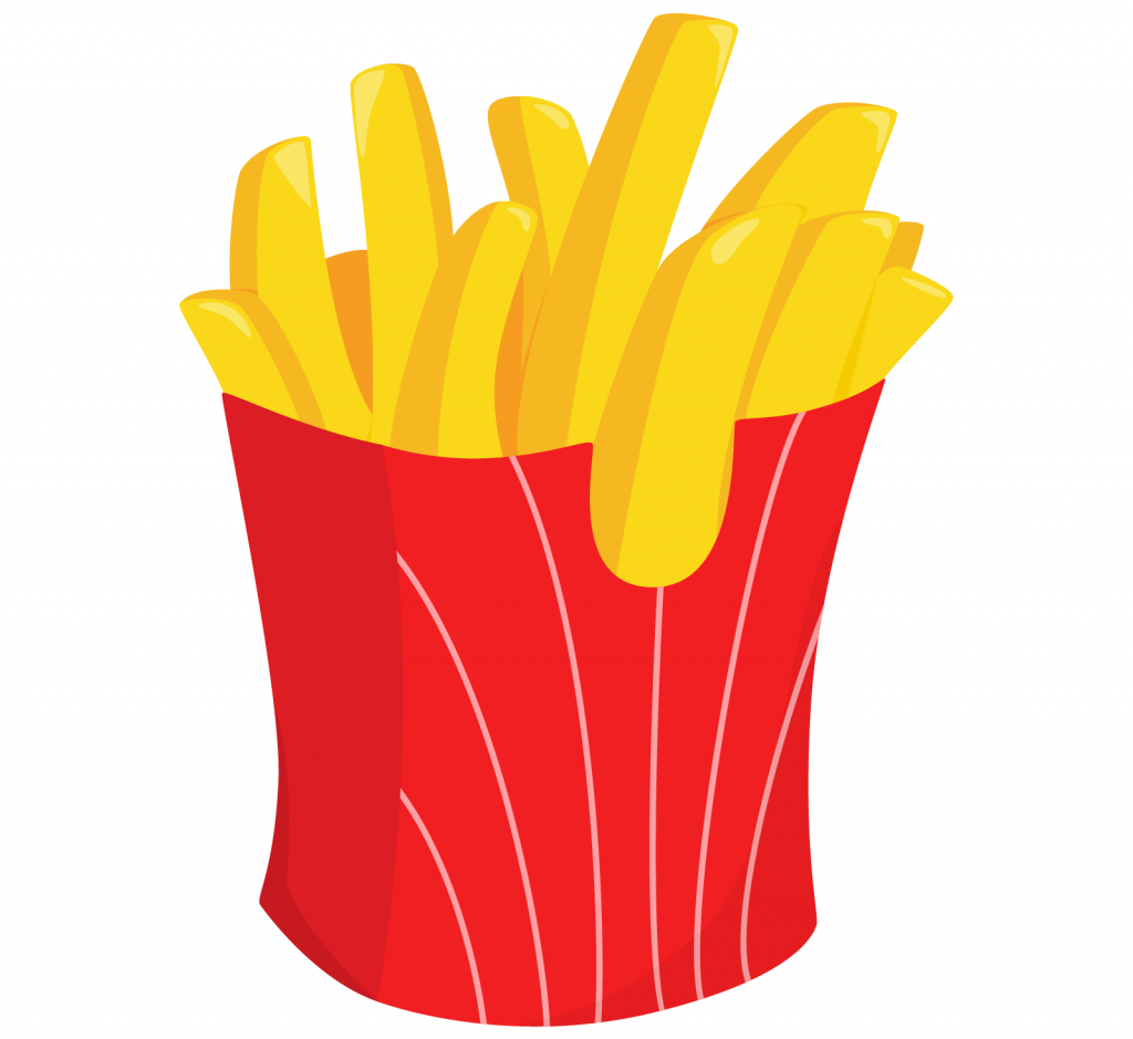 French fries in red colored box