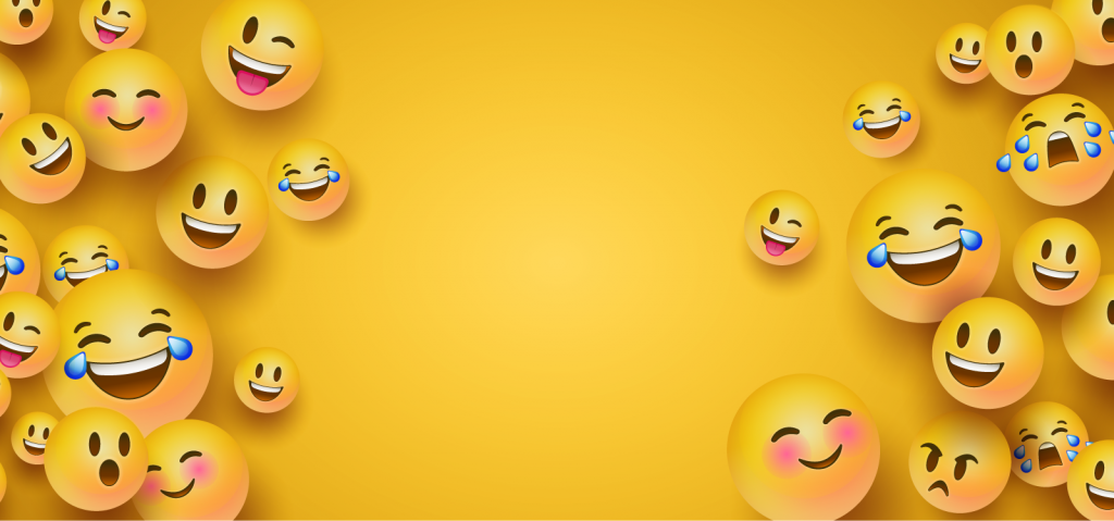 Funny emoji faces on a yellow background