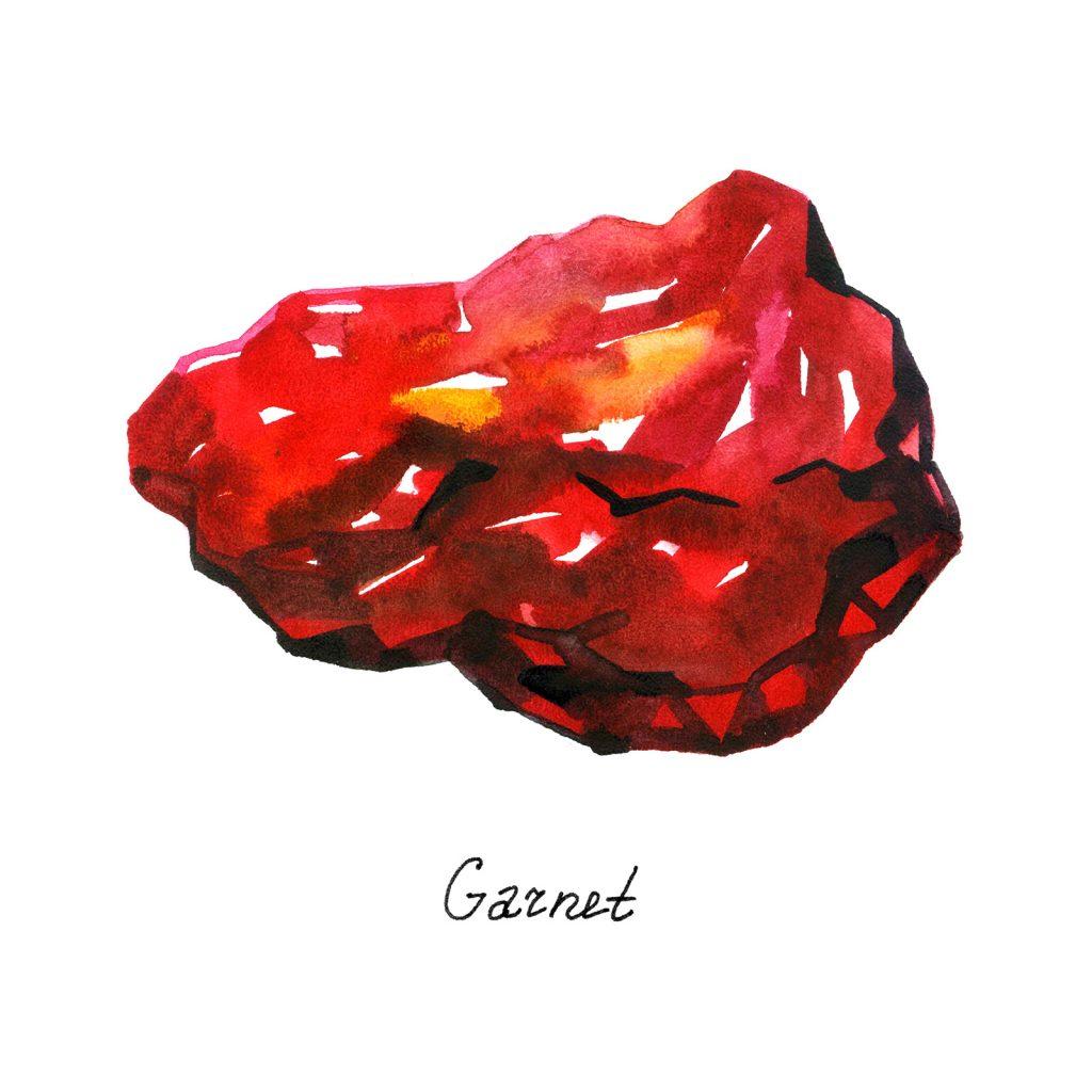 Red crystal garnet gem. Watercolor mineral illustration