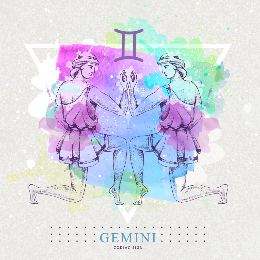 Gemini zodiac sign with colorful twins