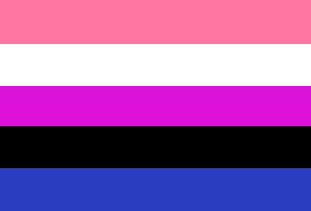 Genderfluid pride flag in pink, white, purple, black and blue colors