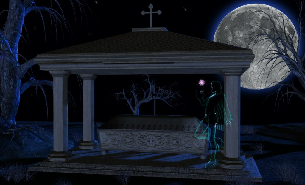 Picture of ghost girl playing with energy orb next to grave