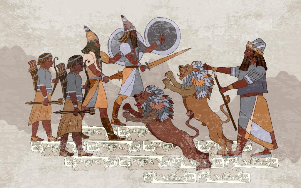 Gilgamesh master of animals commanding two lions in ancient Mesopotamia