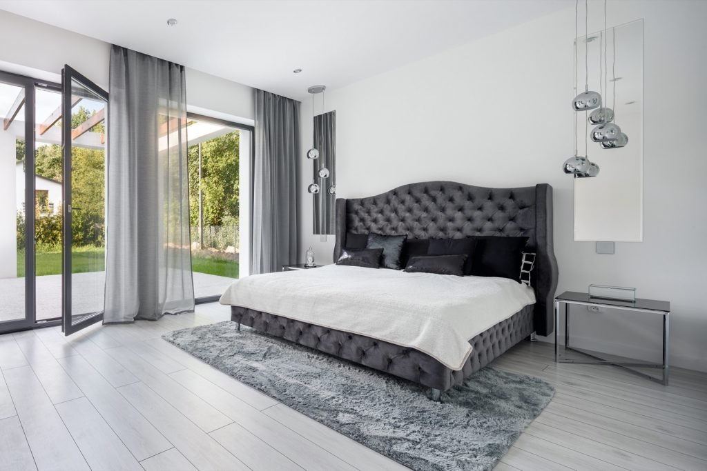 Glamorous gray or silver bedroom interior