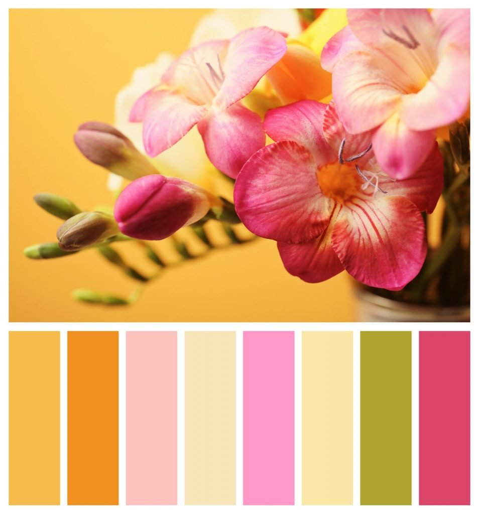 Gold and pink color palette
