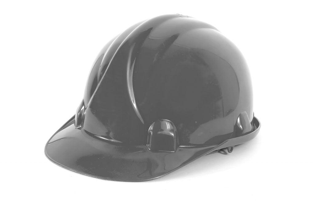 Gray hard hat isolated on white background