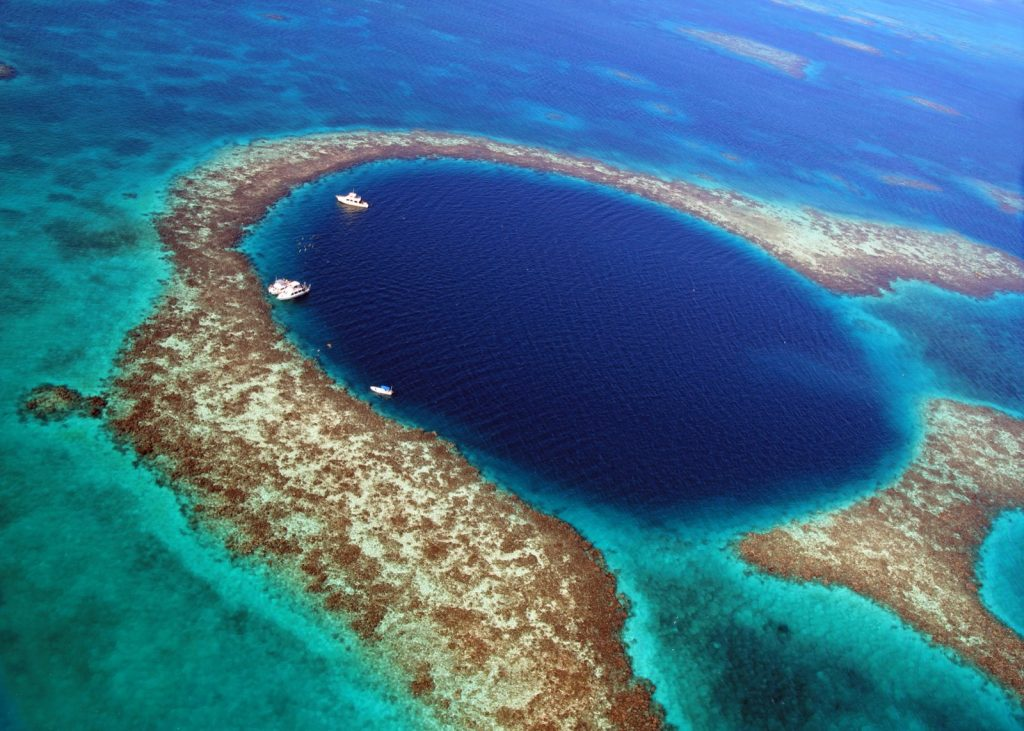 The Great Blue Hole scuba diving location off the coast of Belize