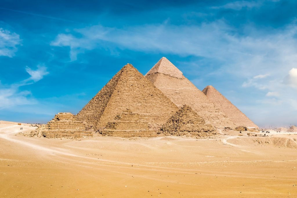 The Great Pyramids of Giza in Egypt were once covered in white limestone