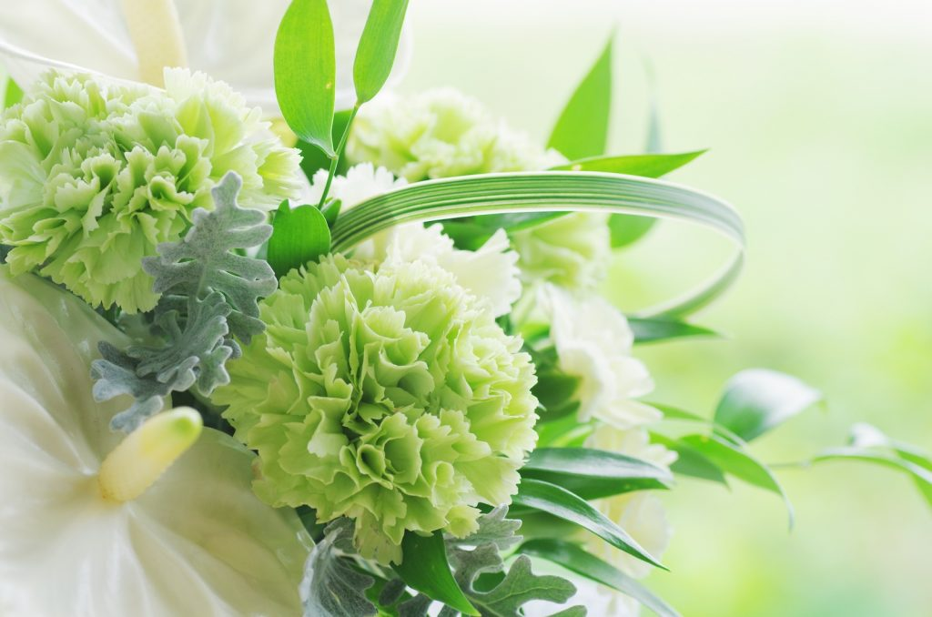 Green carnation in a wedding bouquet